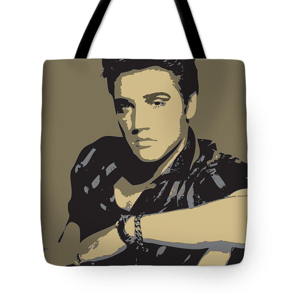 Elvis Tote Bag featuring the digital art Elvis Presley - Pop Art Portrait by Martin Deane
