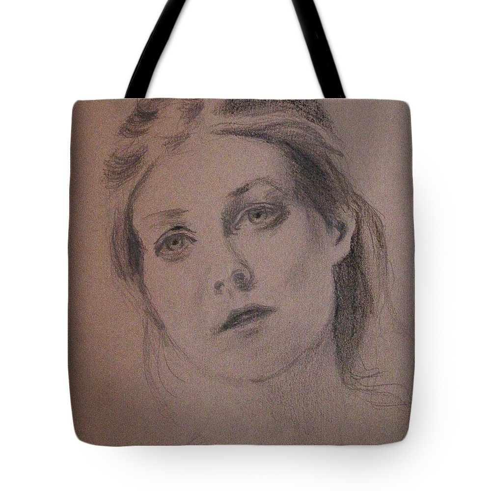 Graphite And Charcoal On Pastel Paper Tote Bag featuring the painting Em by Carol Berning