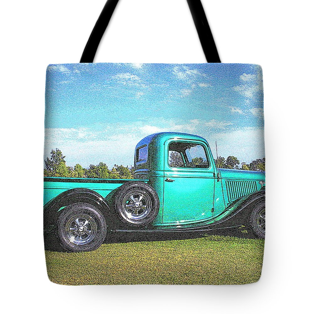 Pickup Tote Bag featuring the photograph Emerald Green 1936 Ford Pickup by Randall Thomas Stone