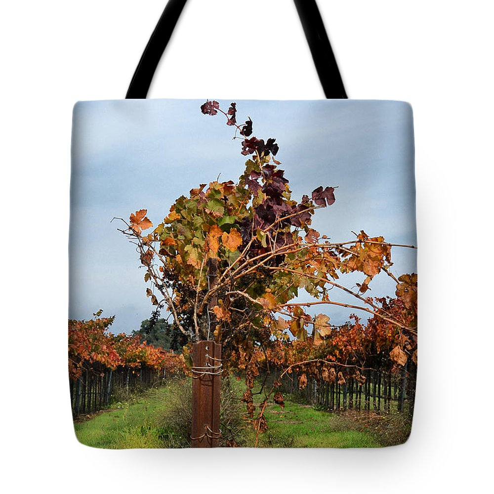 Vineyards Tote Bag featuring the photograph End Of The Vineyard Row by Karen W Meyer
