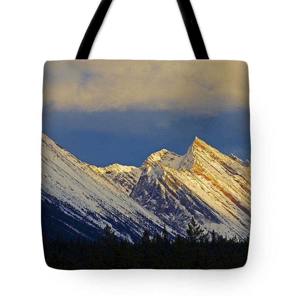 Canadians Tote Bag featuring the photograph Endless Chain Ridge, Icefields Parkway by Mike Grandmailson