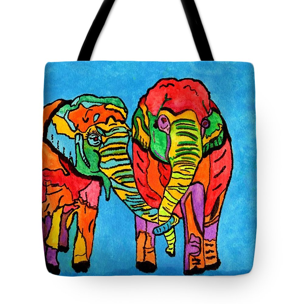 Colorful Elephants Tote Bag featuring the painting Enduring Love by Connie Valasco