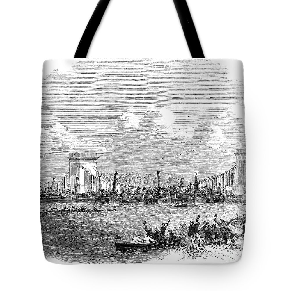 1858 Tote Bag featuring the photograph England: Boat Race, 1858 by Granger
