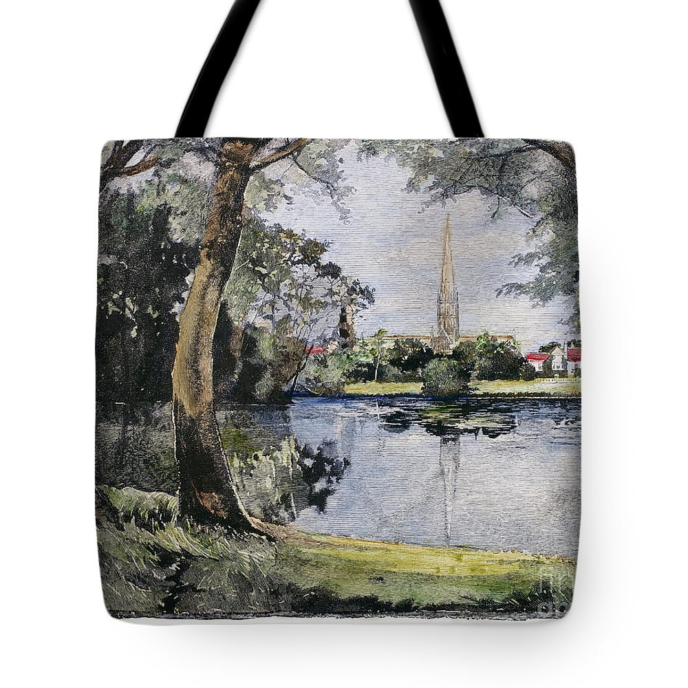 1888 Tote Bag featuring the photograph England: Salisbury by Granger
