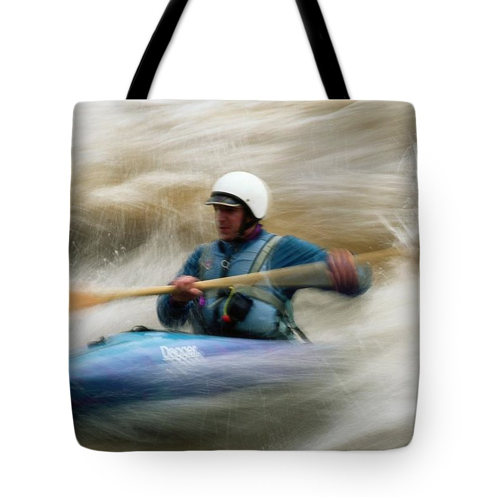 North America Tote Bag featuring the photograph Eric Brown Paddling The Whitewater by Bill Hatcher