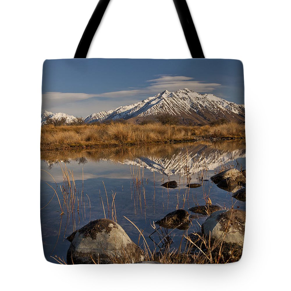 Hhh Tote Bag featuring the photograph Erwhon Station Reflection In Branch by Colin Monteath