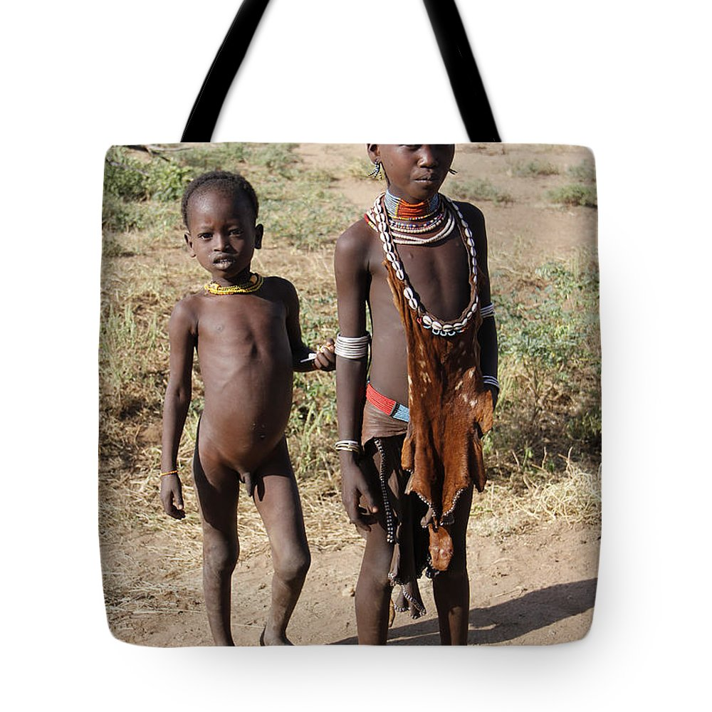 Africa Tote Bag featuring the painting Ethiopia-south Tribesman Boy And Sister No.1 by Robert SORENSEN