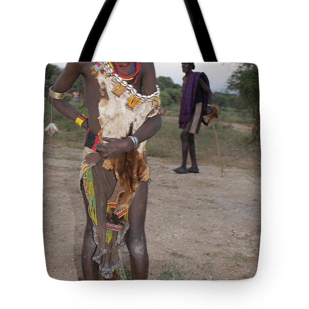 Africa Tote Bag featuring the painting Ethiopia-south Tribesman Boy No.3 by Robert SORENSEN