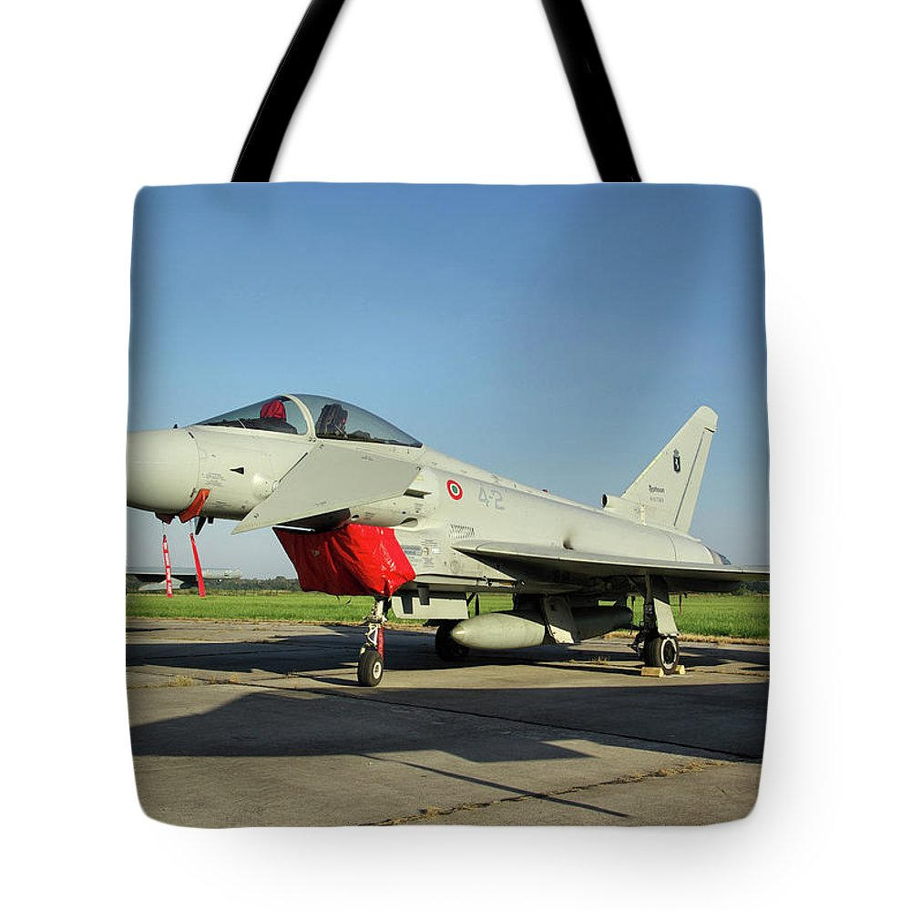 Eurofighter Ef2000 Typhoon Mm7303 Italian French Air Force Italy Nato Days Ostrava Czech Republic September 2011 Jet Fighter Aircraft Aeroplane Airplane Warplane Tote Bag featuring the photograph Eurofighter Ef2000 Typhoon by Tim Beach