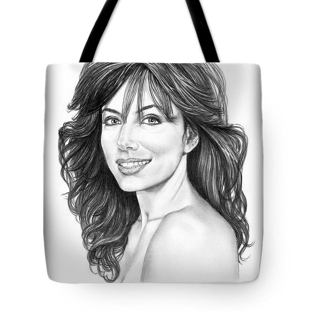 Drawing Tote Bag featuring the drawing Eva Longoria by Murphy Elliott