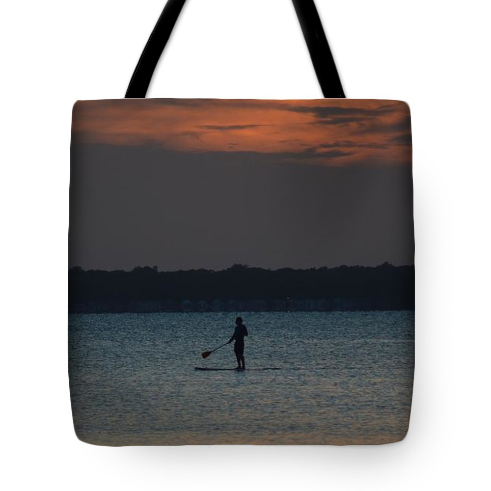 Active Tote Bag featuring the photograph Evening Paddleboarder by William Bartholomew