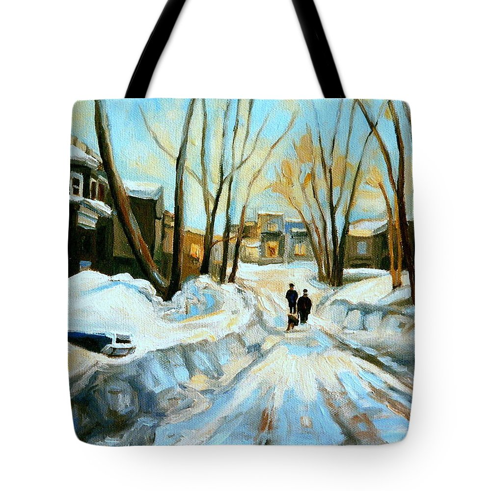 Quebec Artist Tote Bag featuring the painting Evening Winter Walk Streets Of Montreal After The Snowstorm by Carole Spandau