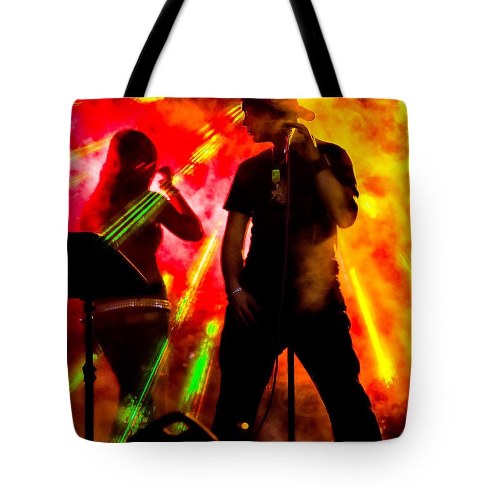 Band Tote Bag featuring the photograph Explosion by Christopher Holmes