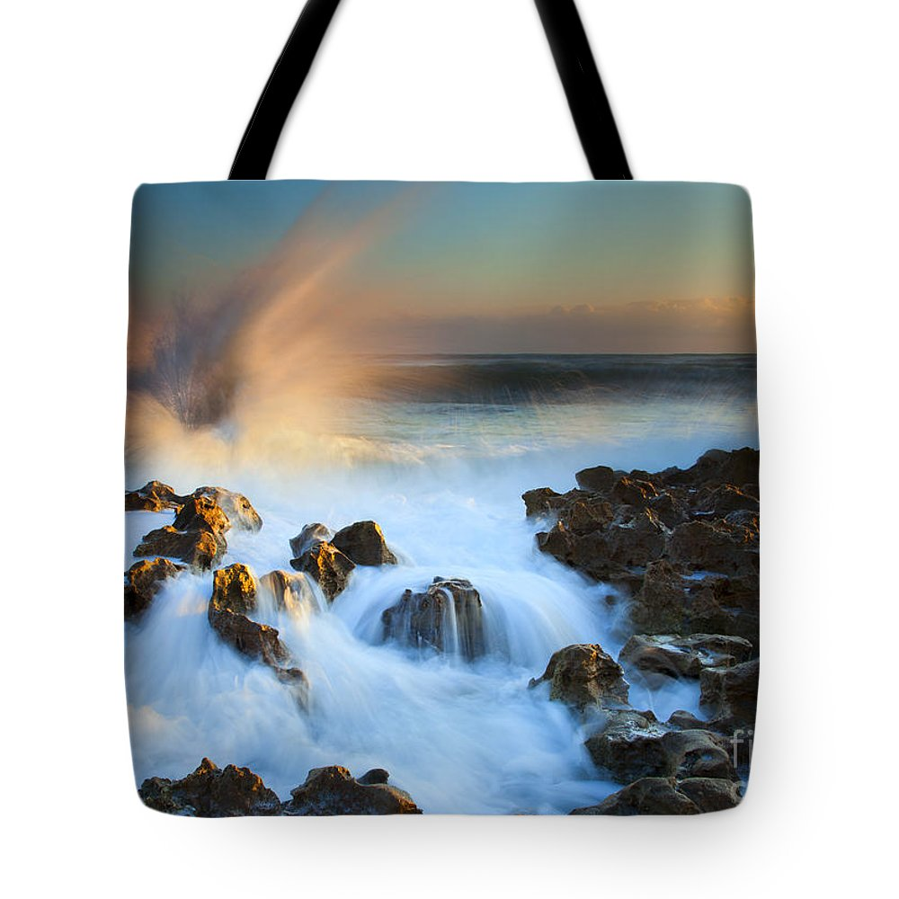 Explosion Tote Bag featuring the photograph Explosive Dawn by Mike Dawson