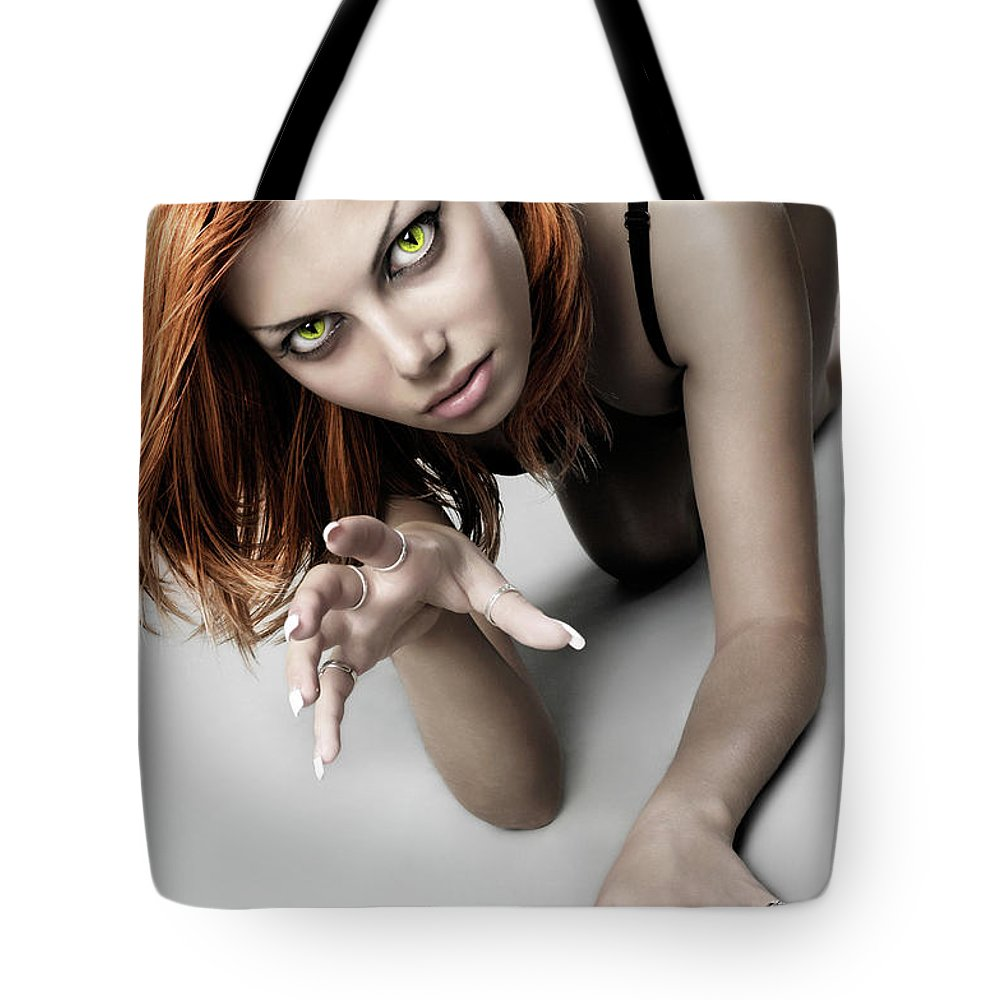 Woman Tote Bag featuring the photograph Expressive Sexy Cat Woman by Oleksiy Maksymenko