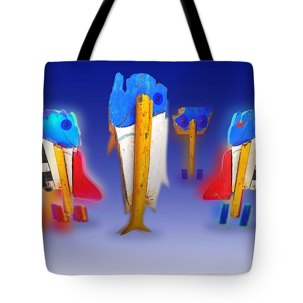 Fab Tote Bag featuring the painting Fab Four by Charles Stuart