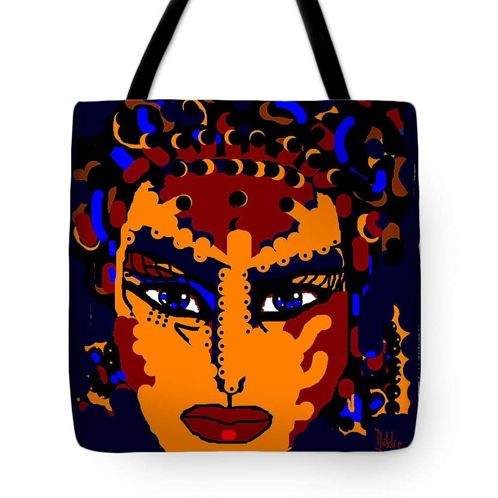 Face Tote Bag featuring the mixed media Face by Natalie Holland