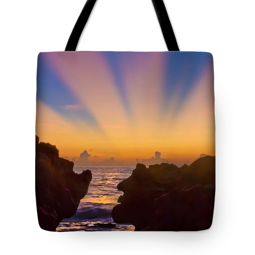 Coral Cove Tote Bag featuring the photograph Face The Morning by Debra and Dave Vanderlaan