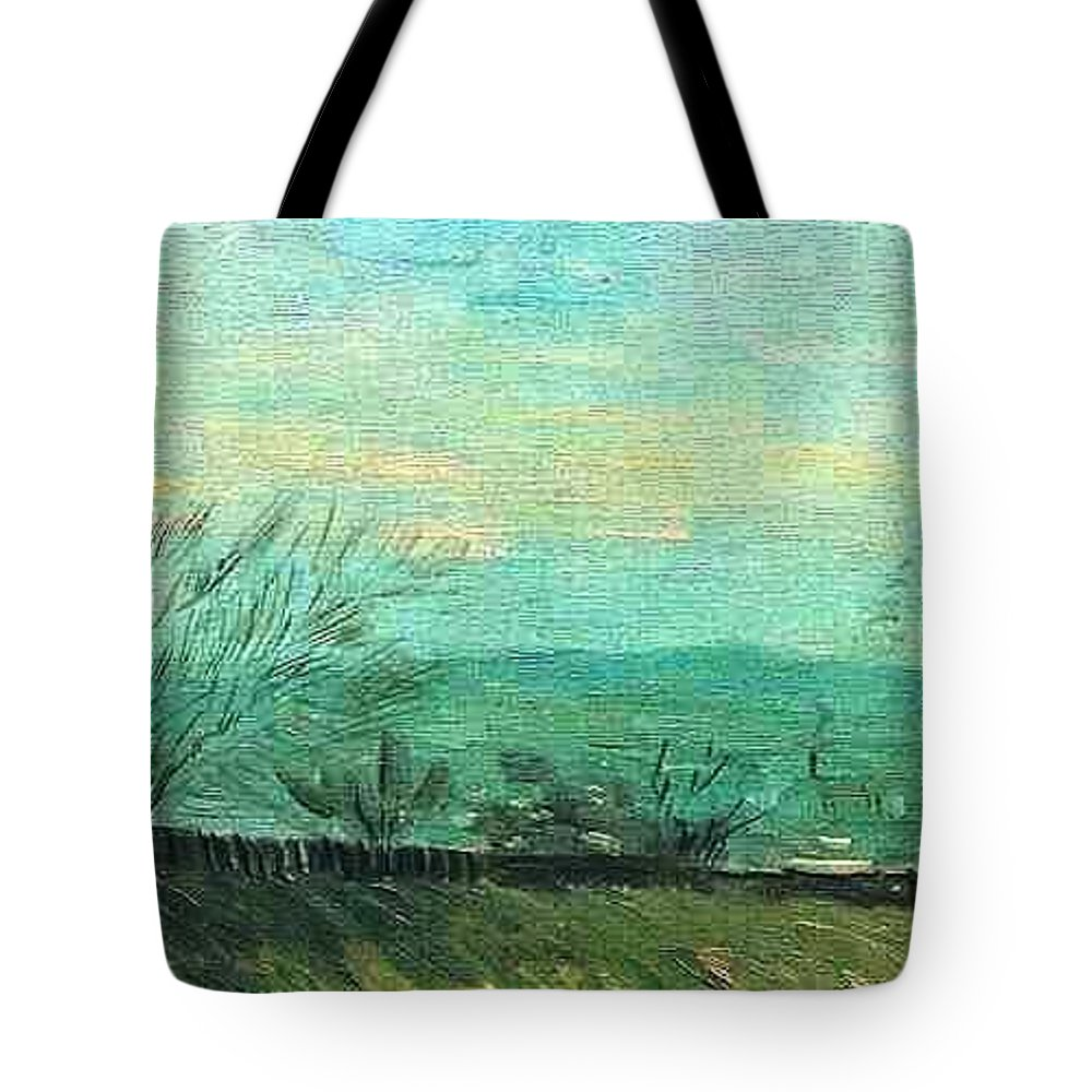 Impressionism Tote Bag featuring the painting Factories On Hillside by Sumit Mehndiratta