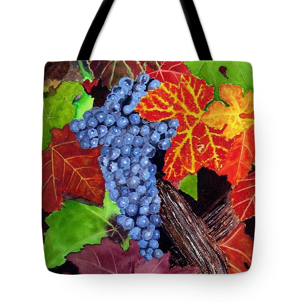 Cabernet Tote Bag featuring the painting Fall Cabernet Sauvignon Grapes by Mike Robles