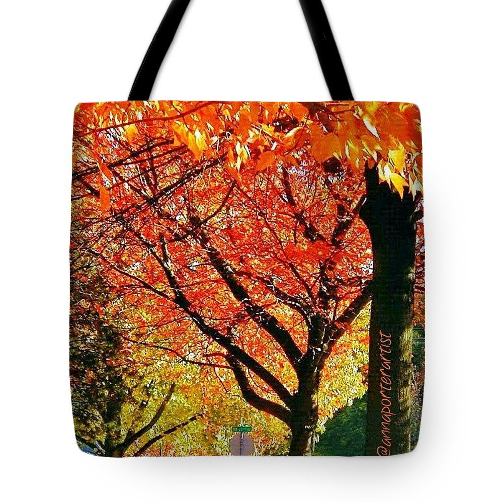 Fall Color Tote Bag featuring the photograph Fall Color NW Lovejoy and 22nd Street by Anna Porter
