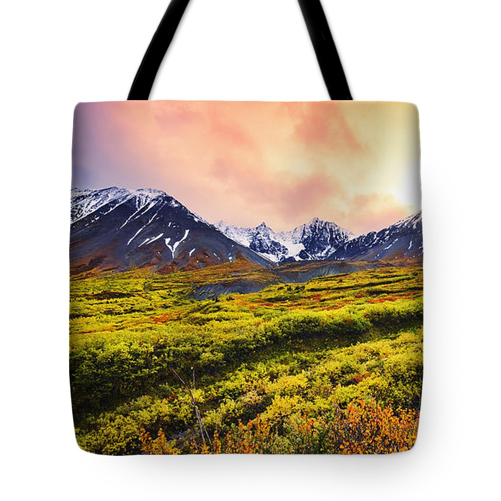 Autumn Tote Bag featuring the photograph Fall Colours And Auriol Range by Yves Marcoux