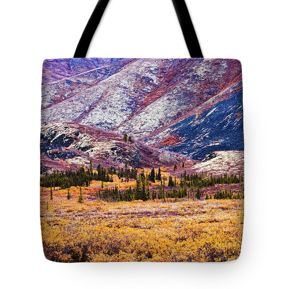 Canadian Tote Bag featuring the photograph Fall Colours In Ogilvie Mountains by Yves Marcoux