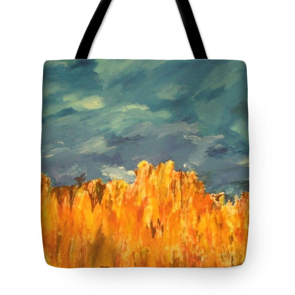 Landscape Tote Bag featuring the painting Fall Crops by Samantha L