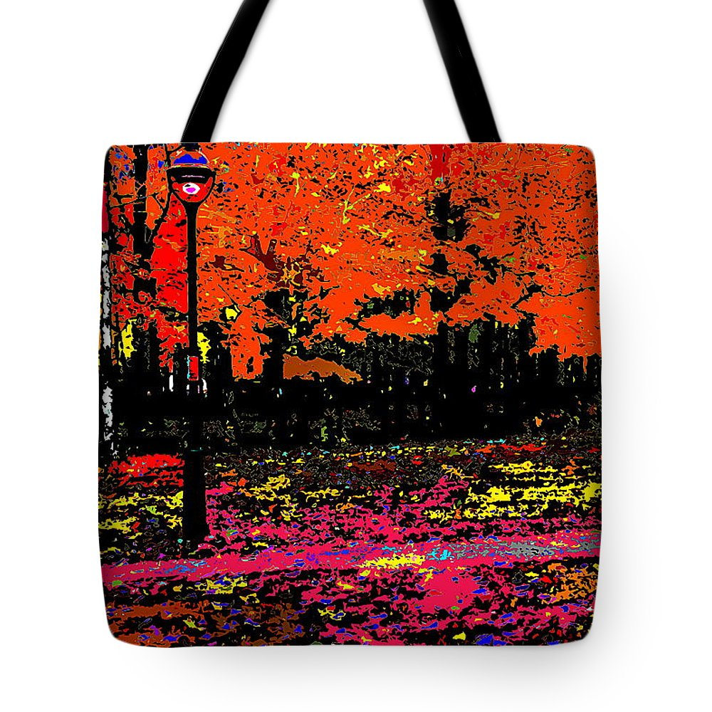 Abstract Tote Bag featuring the photograph Fall In Red by Burney Lieberman