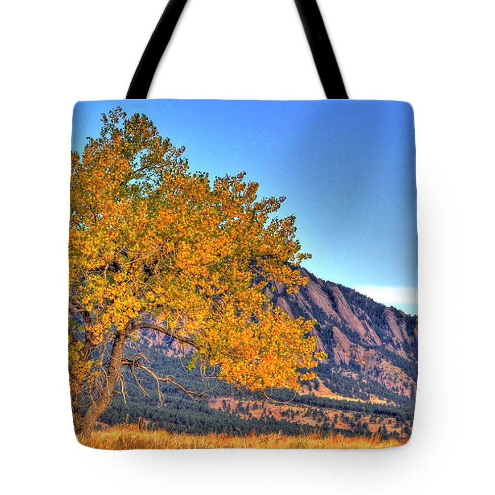 Landscape Tote Bag featuring the photograph Fall In The Flatirons by Scott Mahon