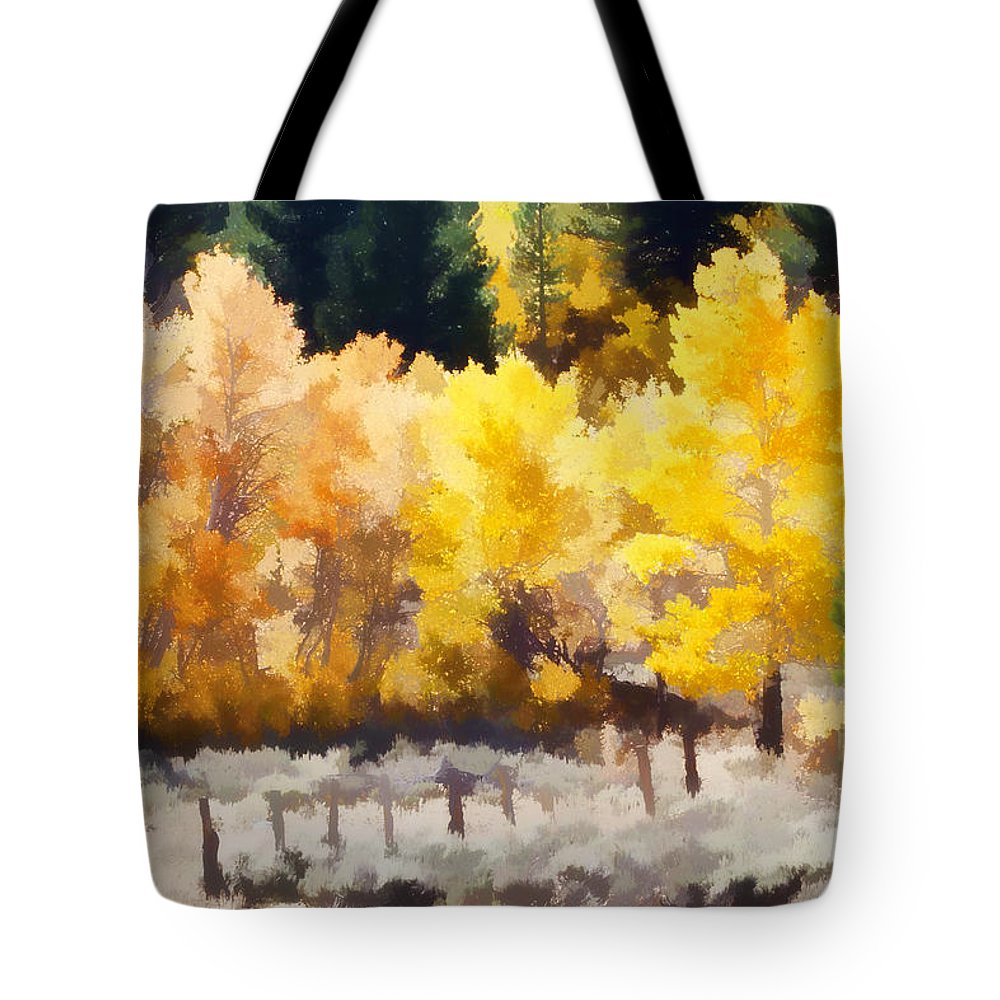 Aspen Tote Bag featuring the photograph Fall In The Sierra by Carol Leigh