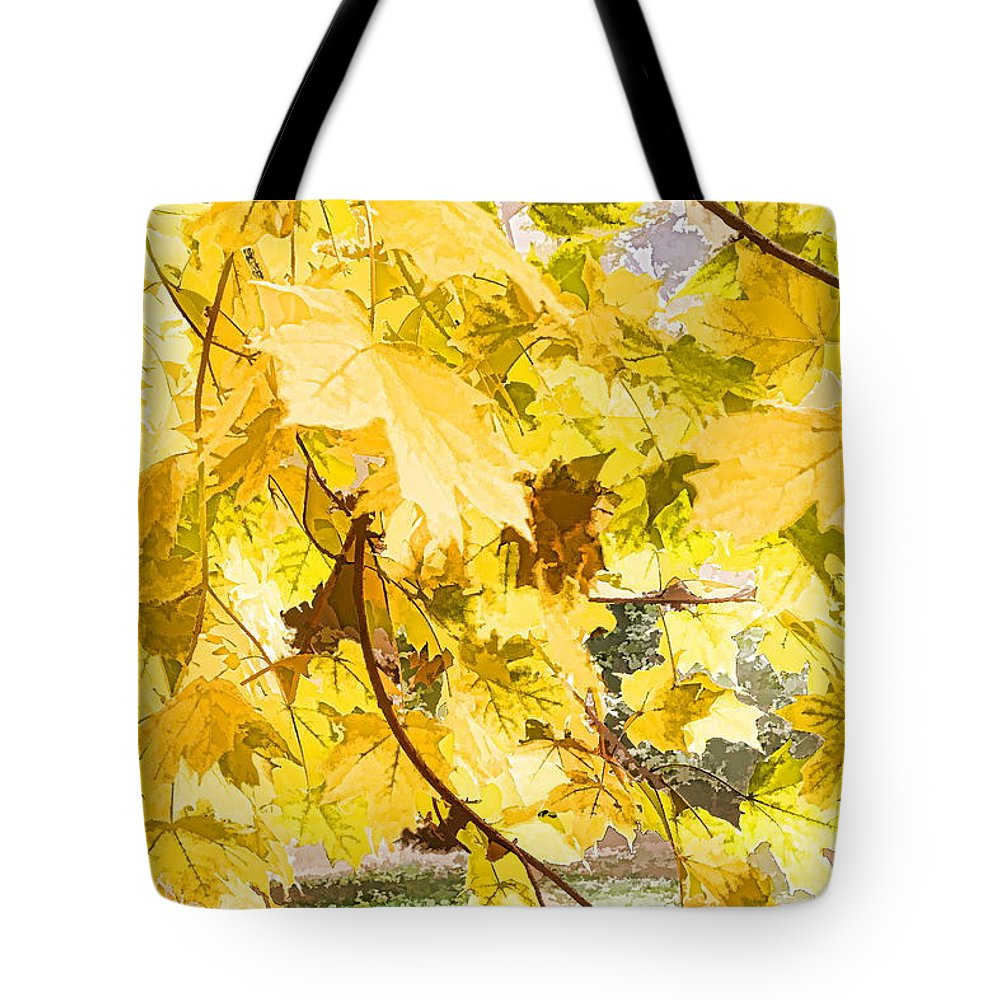 Fall Leaves Abstract Yellow Shimmering Tote Bag featuring the photograph Fall Leaves Abstract by Alice Gipson