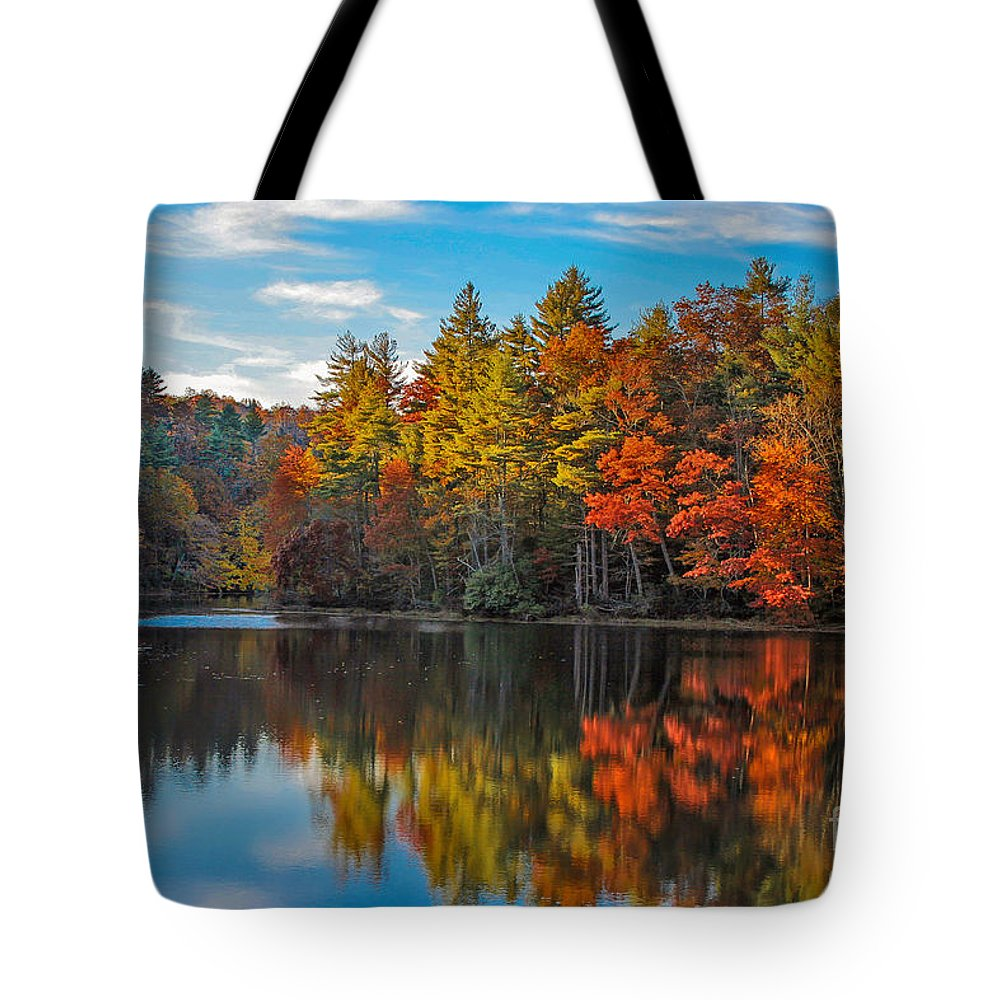 Foliage Tote Bag featuring the photograph Fall Reflection by Ronald Lutz