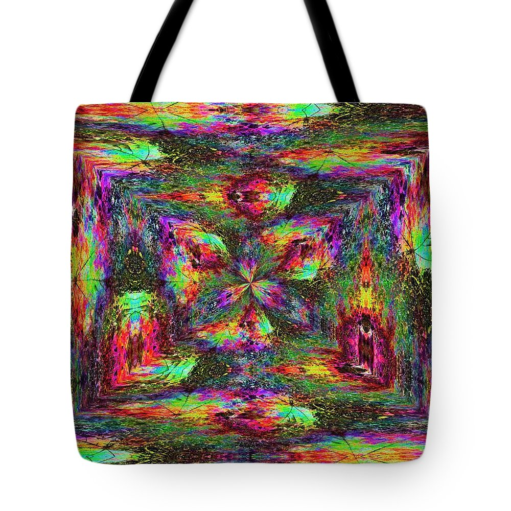 Abstract Tote Bag featuring the digital art Falling Into Fall by Tim Allen
