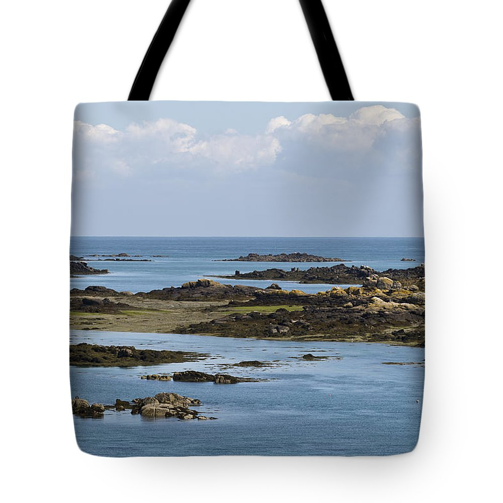 Normandy Tote Bag featuring the photograph Falling Tide Iles Chausey by Gary Eason