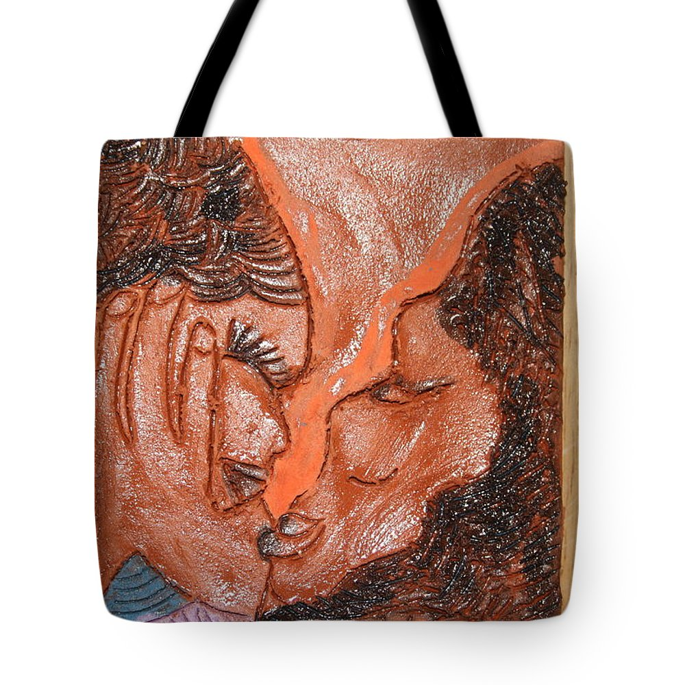 Jesus Tote Bag featuring the ceramic art Family 14 - Tile by Gloria Ssali