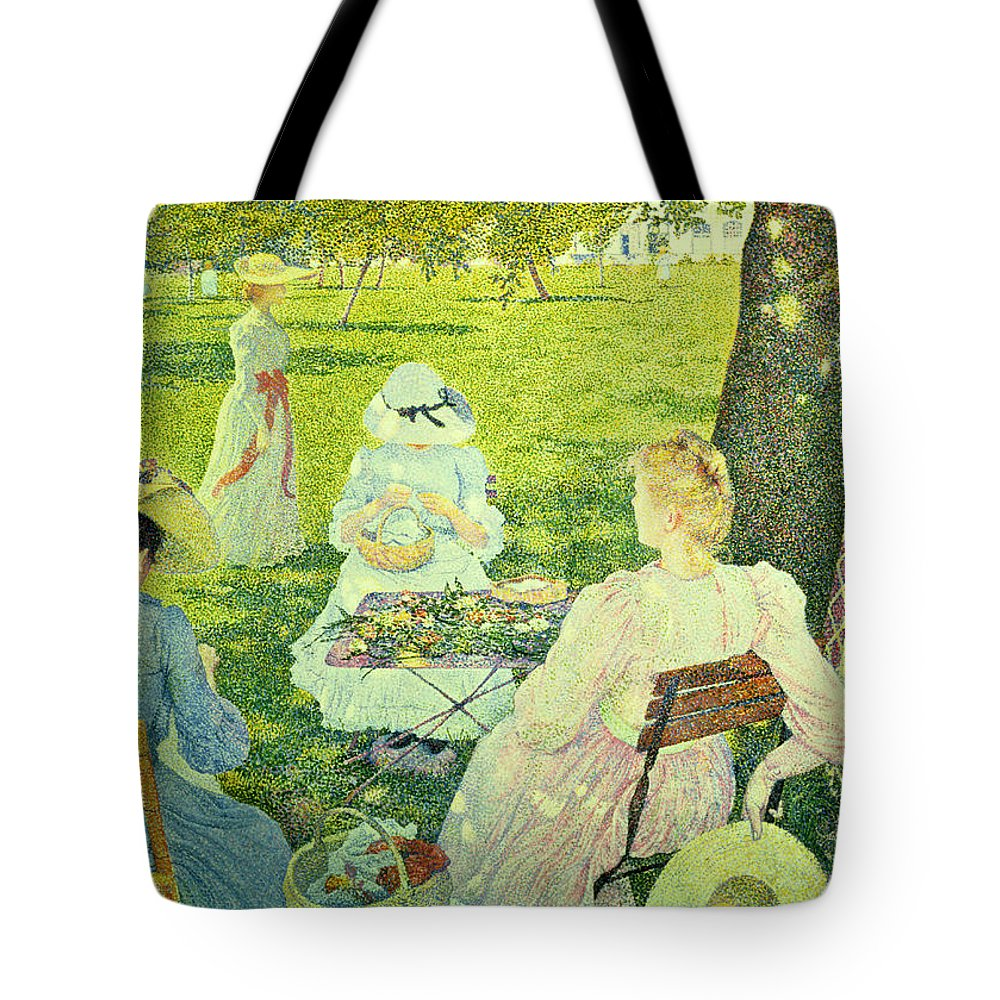 Family Tote Bag featuring the painting Family In The Orchard by Theo van Rysselberghe