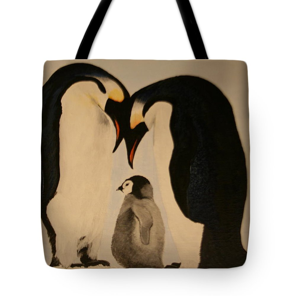 Emperor Penquins Tote Bag featuring the painting Family Love by Betty-Anne McDonald