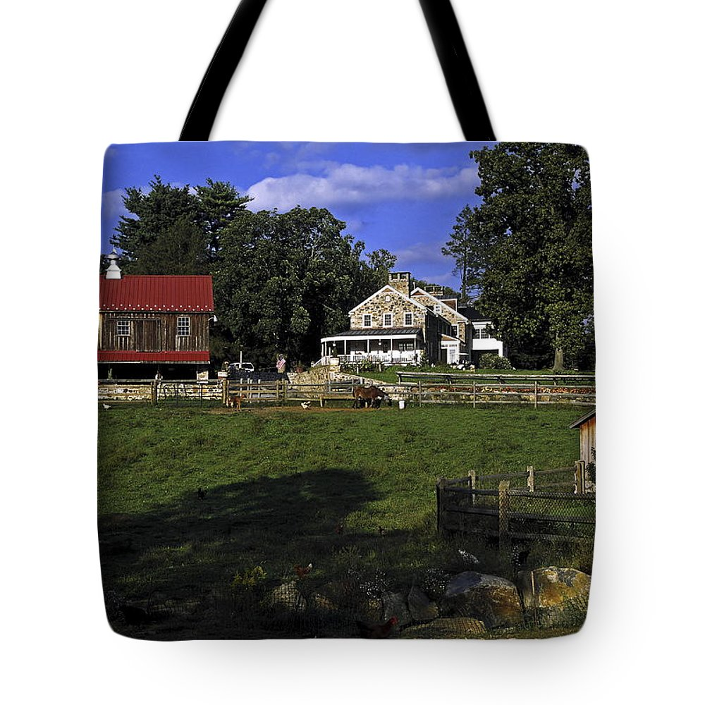 Large Barn Tote Bag featuring the photograph Farm Scene by Sally Weigand