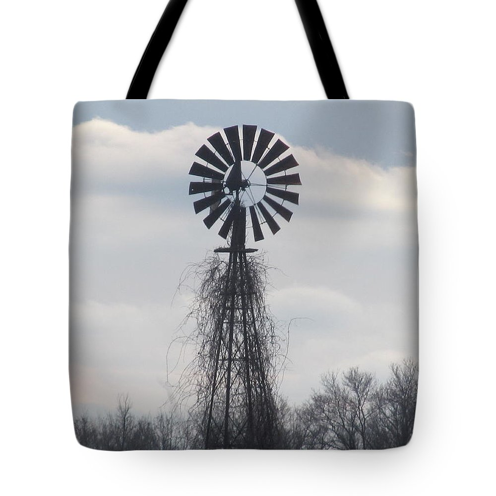 Windmill Tote Bag featuring the photograph Farm Windmill by Tina M Wenger