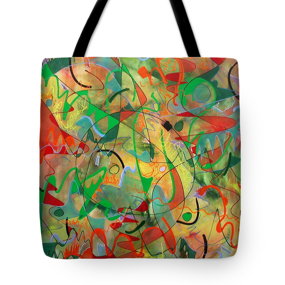 Abstract Tote Bag featuring the painting Feathered Nest by Lynne Taetzsch