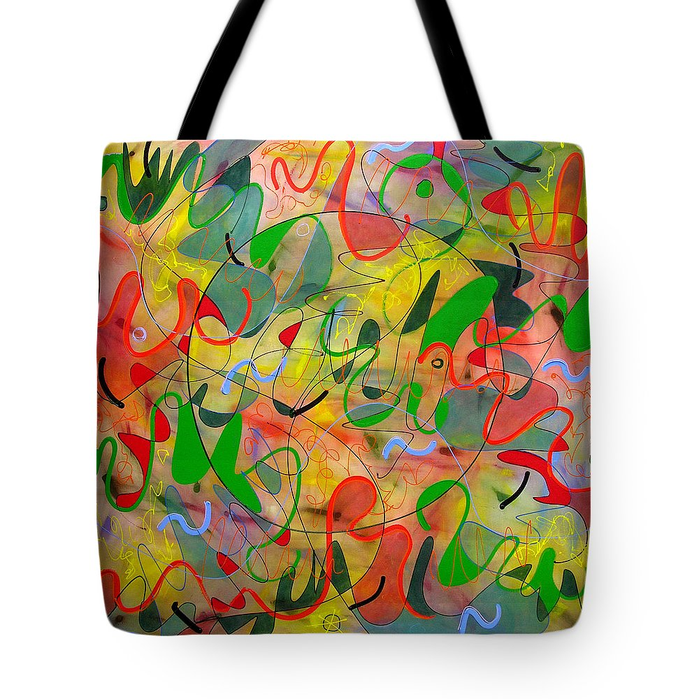 Abstract Tote Bag featuring the painting Feathered Nest Three by Lynne Taetzsch