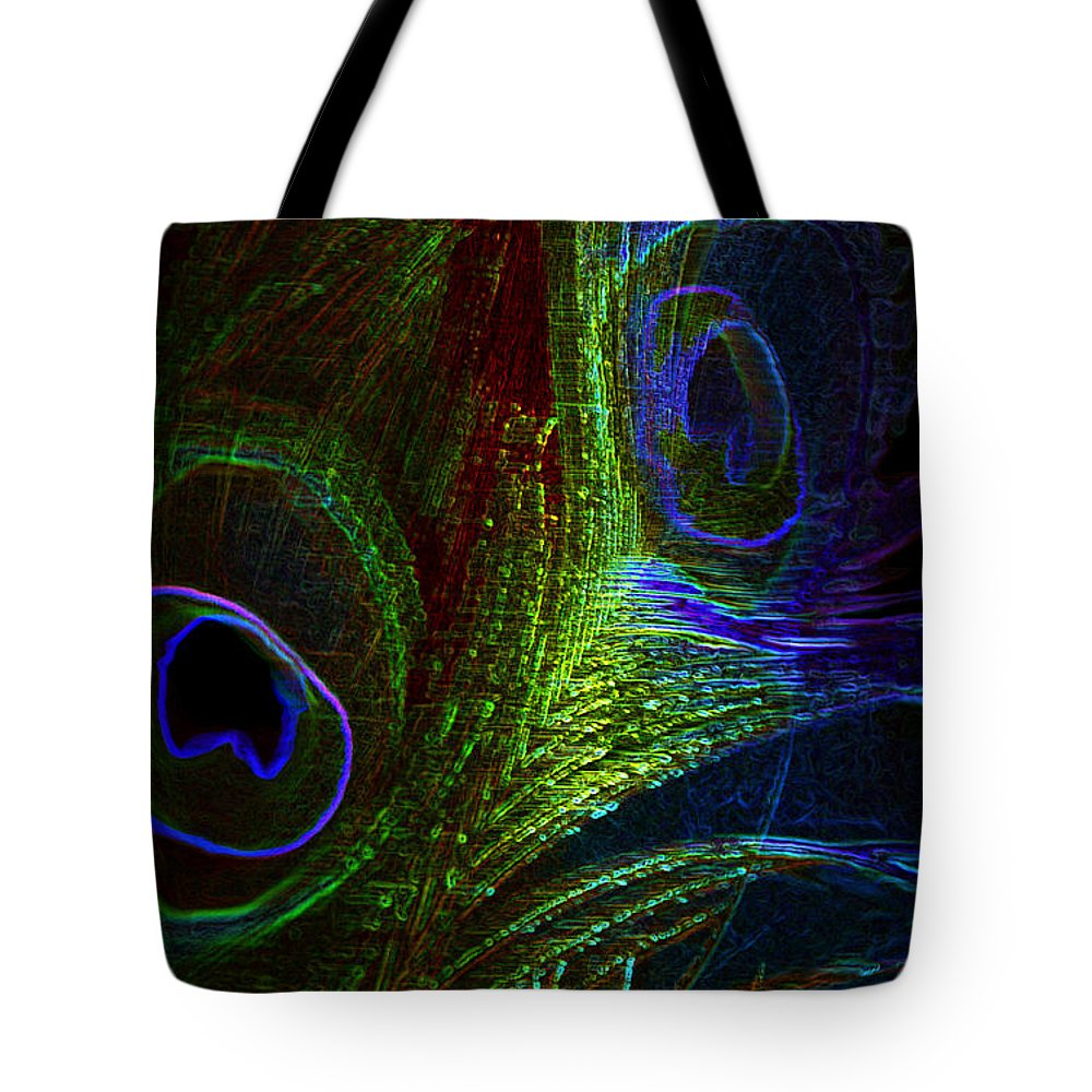 Peacock Tote Bag featuring the photograph Feathers Of Hope. Blue Touch by Jenny Rainbow