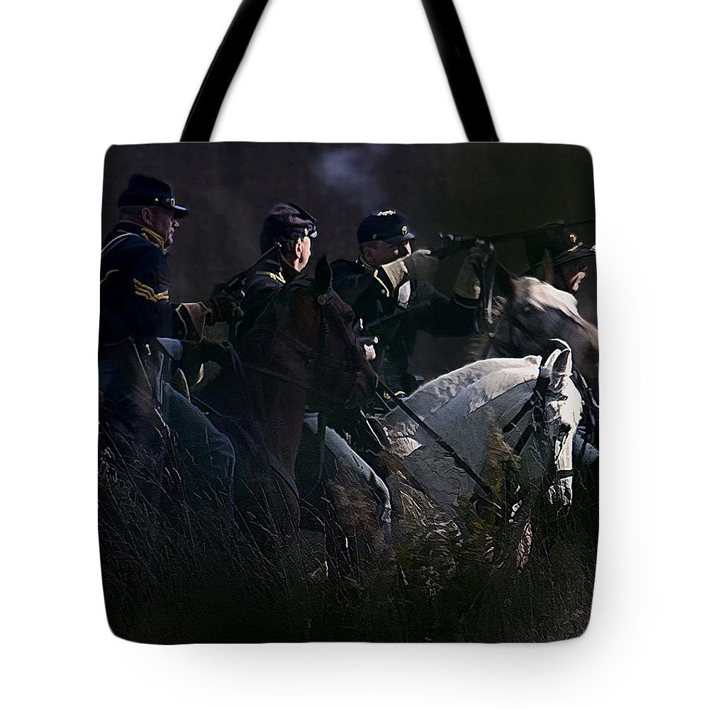 Cavalry Tote Bag featuring the photograph Federal Cavalry by Ron Jones