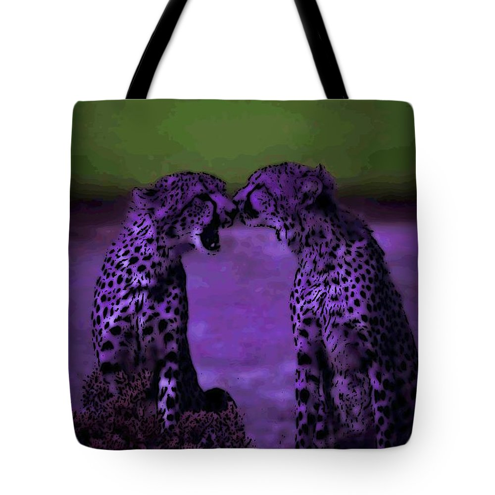 Cheetahs Tote Bag featuring the photograph Feelings by George Pedro