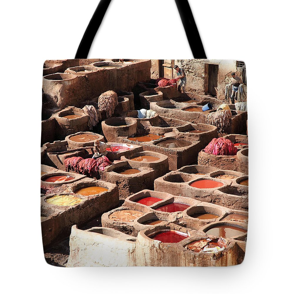 Leather Tanning Tote Bag featuring the photograph fes by Milena Boeva