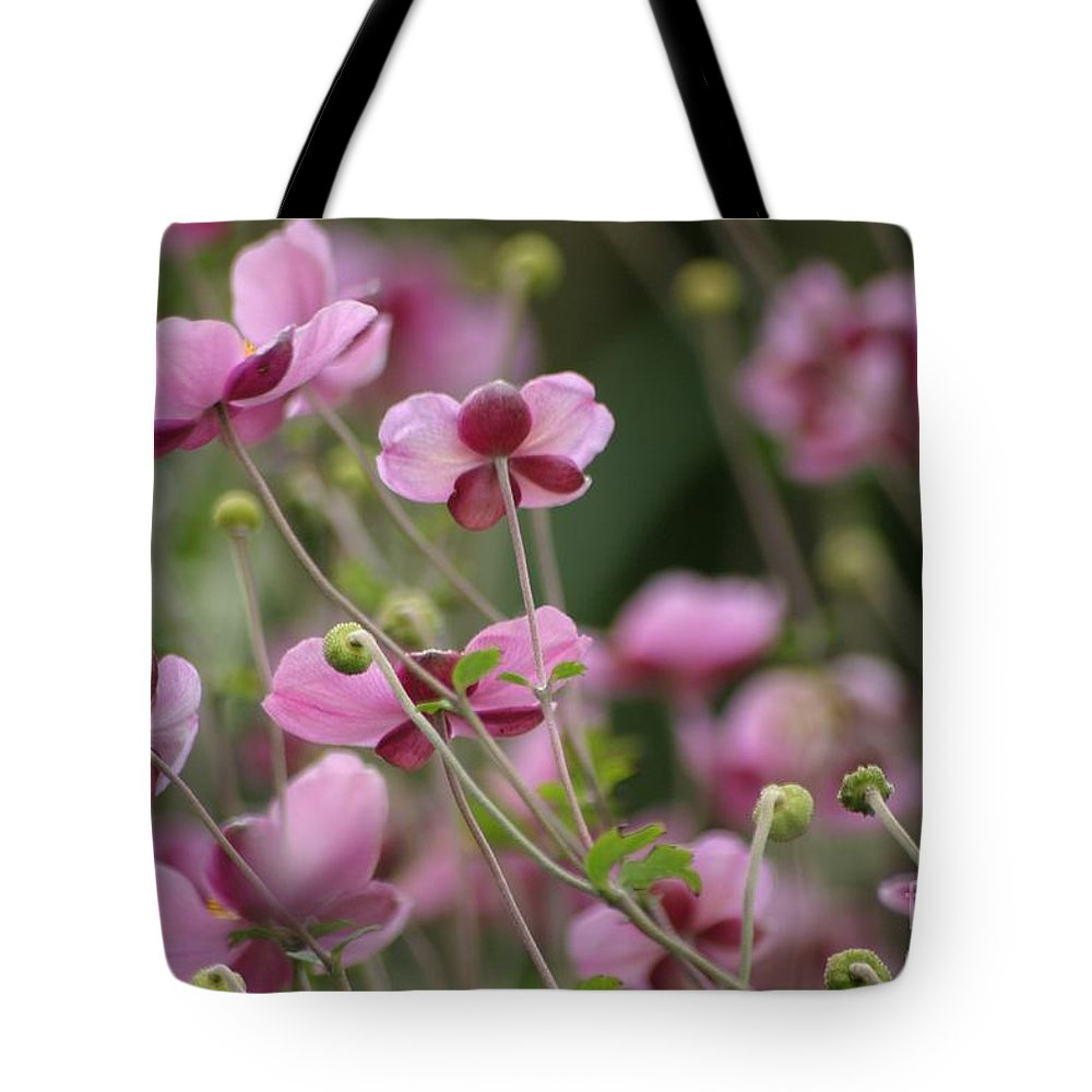 Floral Tote Bag featuring the photograph Field Of Japanese Anemones by Living Color Photography Lorraine Lynch