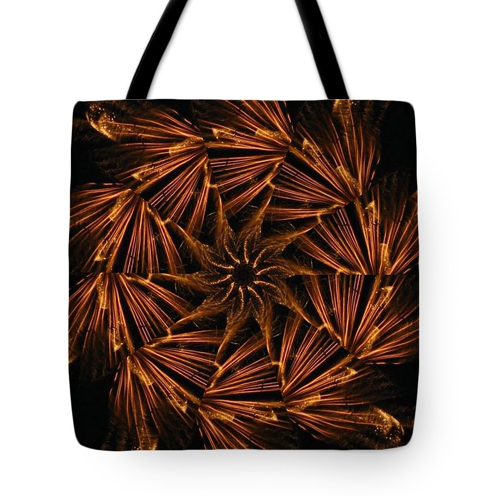 Digital Tote Bag featuring the digital art Fiery Pinwheel by Rhonda Barrett