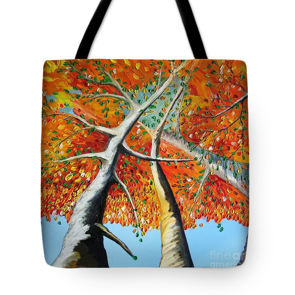 Landscape Tote Bag featuring the painting Fiery Trees by Alfie Borg