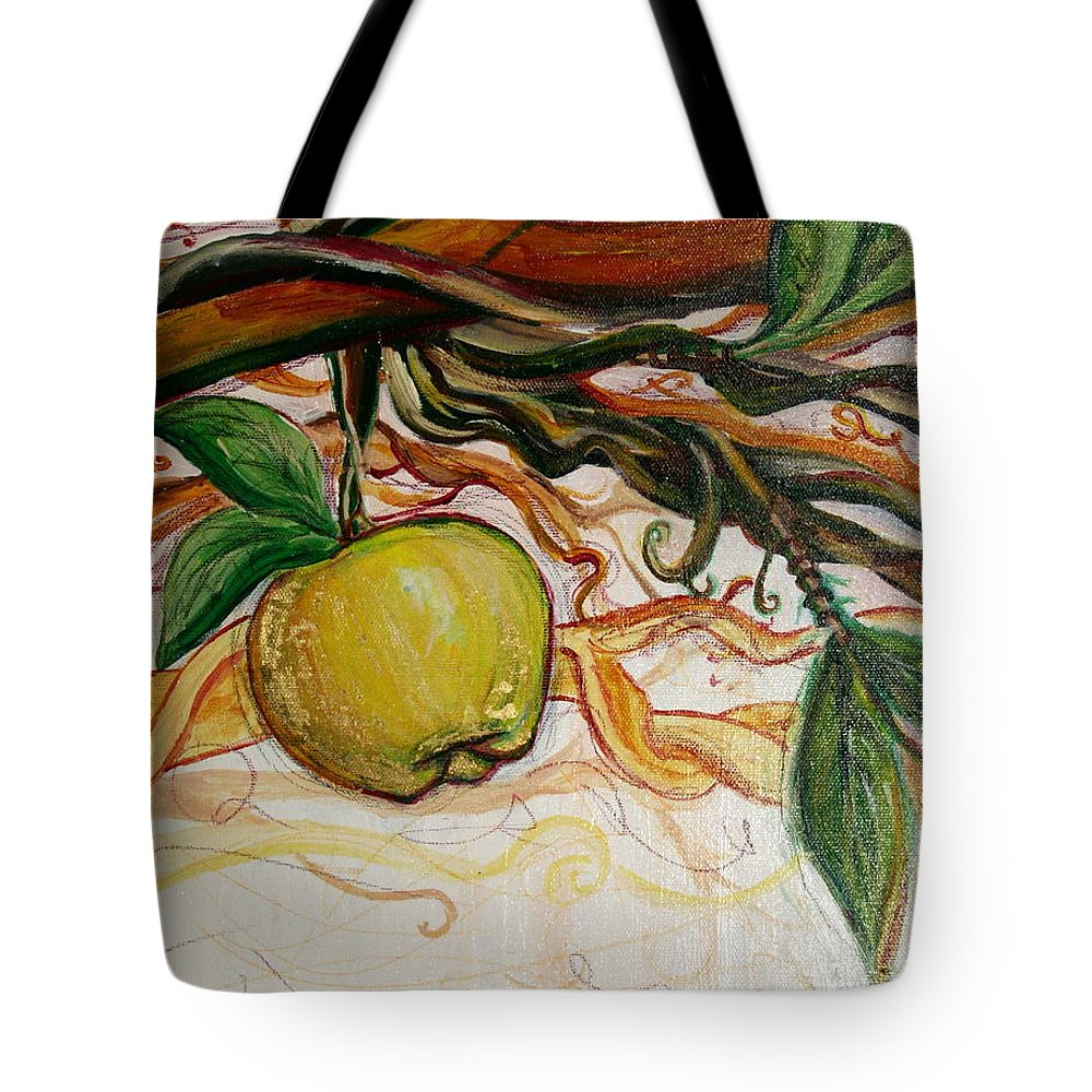 Apple Tote Bag featuring the painting Fifth World Five by Kate Fortin
